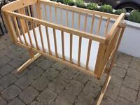Wooden swinging nursery crib cot