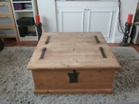 Vintage Rustic Pine Chest / Wooden trunk / Blanket Box