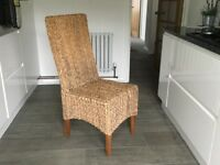 4x High Back Grass Dining Chairs with Natural Solid Mango Legs.