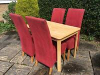 Solid pine or BEECH dining table and 4 RED CHAIRS linen