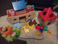 Wooden toy bundle, large Noah's ark, shape sorter, Hamleys pull along