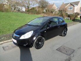 2010/60 Vauxhall 1.2 Corsa Black Feb 19 Mot,Panther Black/solar int,FSH all books/keys,Immaculate