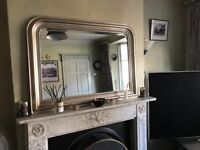 Large Gallery Pimlico Mirror, bevelled in gold frame, approx. 109 x 79cm