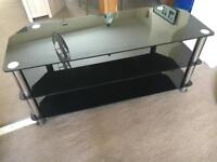 Large Glass Black TV stand
