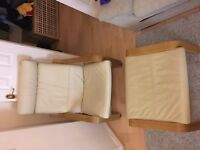 IKEA Cream Leather Arm Chair & Stool Poang - very good condition