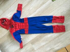Spider man costume, towel and bag