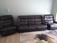 Black leather sofa - 3 piece sofa