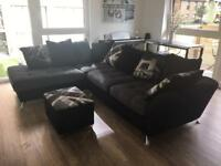 Sofa with chaise + Storage footstool £500