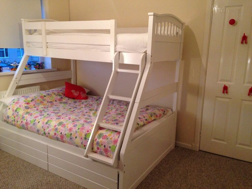 White Wooden Triple Bunk Bed Double And Single Sweet Dreams Apollo
