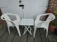White Garden Chairs and Folding Table, good condition
