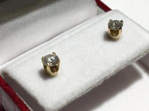 #1495 14K DIAMOND STUD SCREW BACK EARRINGS 1/2CT TOTAL DIAMONDS! JUST BACK FROM APPRAISAL AT $1450.00!