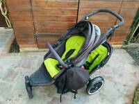 Phil & Teds Explorer grey/green with double kit, cocoon etc.