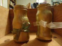 24 gold spray painted jam jars