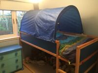 Wooden bunk bed with canopy and chest of drawers. Excludes Mattress. Sell separately or together.