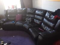 Dark brown leather sofa swap