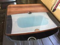 4 PART SINK CHOPPING BOARDS AND REMOVERABLE COLANDER