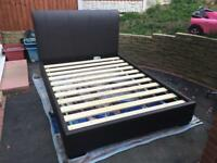 King size faux leather bed frame excellent condition built in speakers
