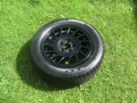 ONE,VOLVO OR FORD,5 STUD,5 X 108,BLACK ALLOY WHEEL,C/W A1 195/65/15 TYRE
