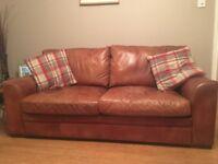 Halo analine tan leather 3 seater sofa