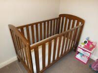John Lewis Rachel cot bed Plus mattress & cot top changer - like new!