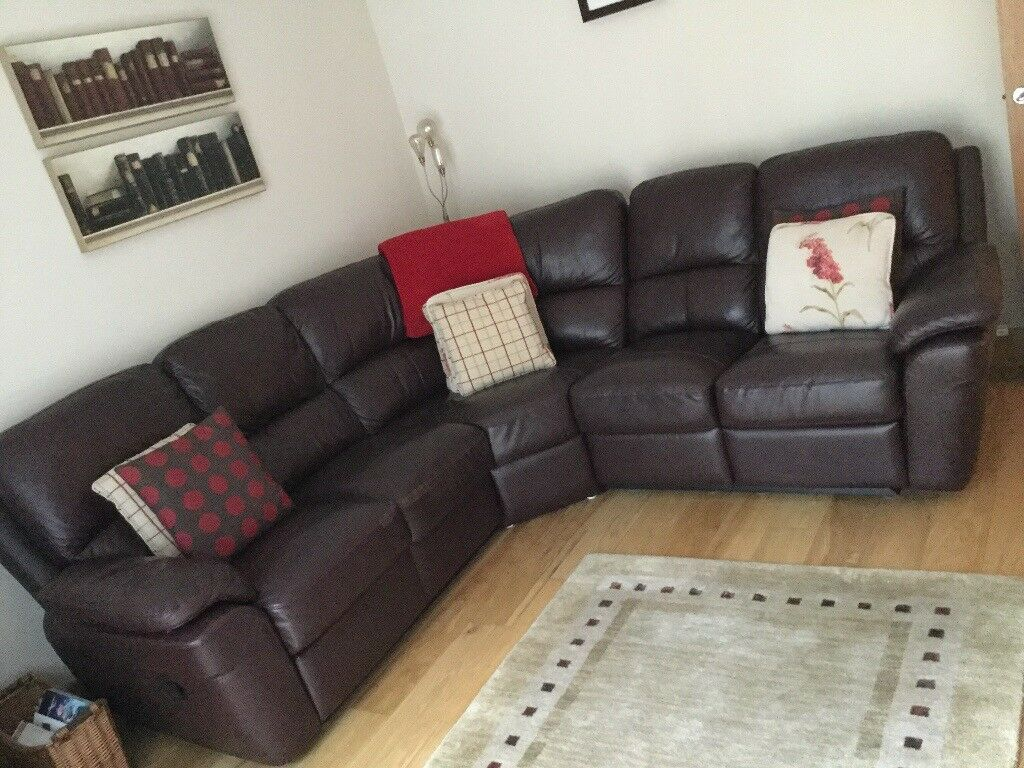 Sold Pending Collection Brown Leather Reclining Corner Sofa From Creations