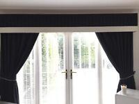 2 Pairs of Lined Curtains with Pelmets (Black with Silver Square Details) USED - Great Condition