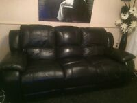 Black leather 3 seater recliner