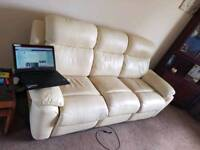 Can deliver 3 seat reclining sofa cream suite settee couch
