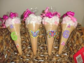 MARSHMALLOW SWEET CONES BIRTHDAY CHRISTENING BABY SHOWER FAVOURS