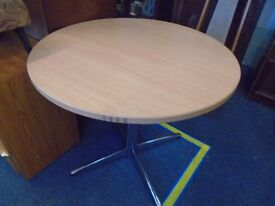 small round pine look table