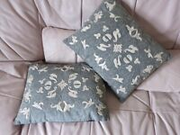 Cushions. Grey and cream, beautifully embroidered.