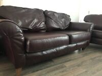 Maroon/red leather 1x3 seater 1x2 seater