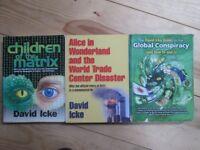 3 David Icke books - conspiracy theory - aliens - UFOs