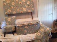 MATCHING BEDROOM SET EGG BLUE & cream flower s