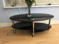 Black glass/chrome 3 tier coffee table - very stylish!!!