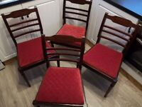 1960 Fully restored antique dining chairs, newly upholstered to sell x4