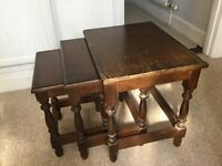 SET OF 3 NESTED TABLES, VINTAGE, PRIORY OAK, IDEAL UPCYCLE SHABBY CHIC PROJECT