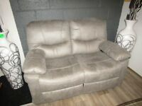 3 Seater Recliner Grey Faux Suede Sofa Brand New