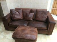 Vintage leather couch + stool