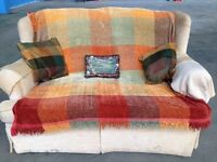 Sofa 2 seater with throw and cushions