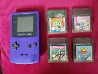 Nintendo GBC Gameboy Color Purple with 4 cardridges games