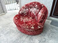 chair in dark red/gold fabric