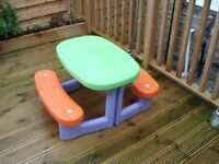 Kids childs children's garden plastic picnic bench table