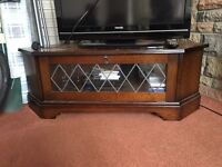 Wooden TV stand with glass cabinet cupboard FREE on collection