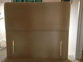 Headboard for double bed - floorstanding, embossed material in champagne colour