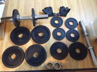 """45KG OLYMPIC DUMBELL SET, 2"""" WEIGHTS - MAKES DUMBELLS UP TO 22.5KG x 2"""