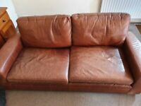 Quality & Comfy Next Sonoma Leather 3 Seater Sofa
