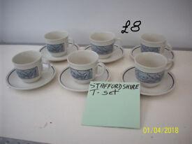 STAFFORDSHIRE TEA SET ,SMALL TEA POT,NEXT MUG,TEA TRAYS,VINTAGE FELIX 4 CUP TEA POT.