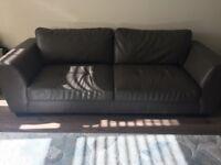 Bonded Leather Sofa Set: 3 + 2 Seater-Grey
