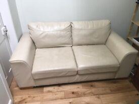 Marks & Spencer Cream Leather Sofa - £150